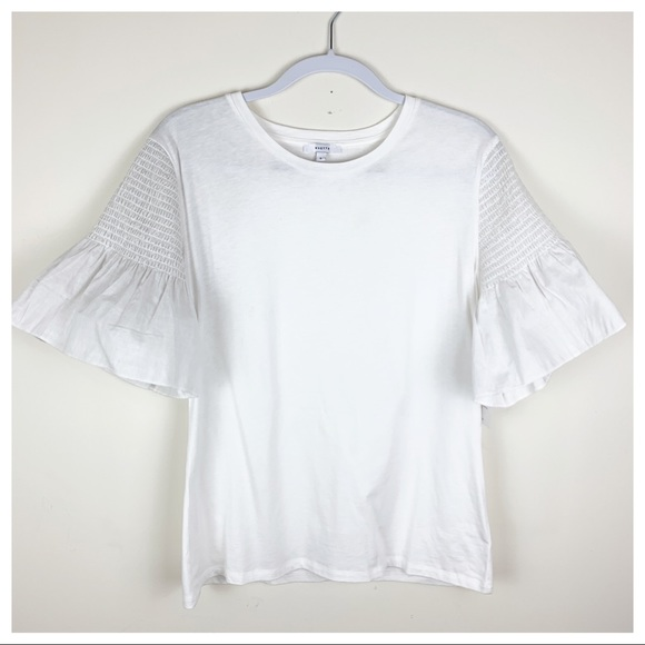 Stella & Dot Scoop-Neck White Tee with Gathered